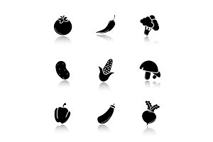 Vegetables. 9 icons. Vector
