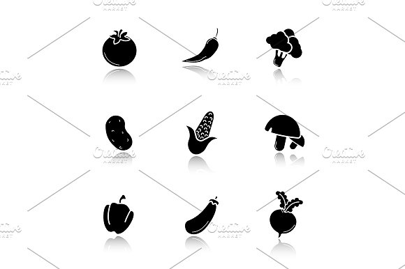 Vegetables. 9 icons. Vector - Icons