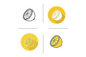 Lemon half. 4 icons. Vector