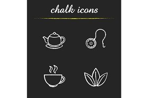 Tea. 4 icons. Vector