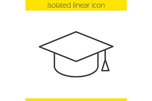 Square academic cap icon. Vector