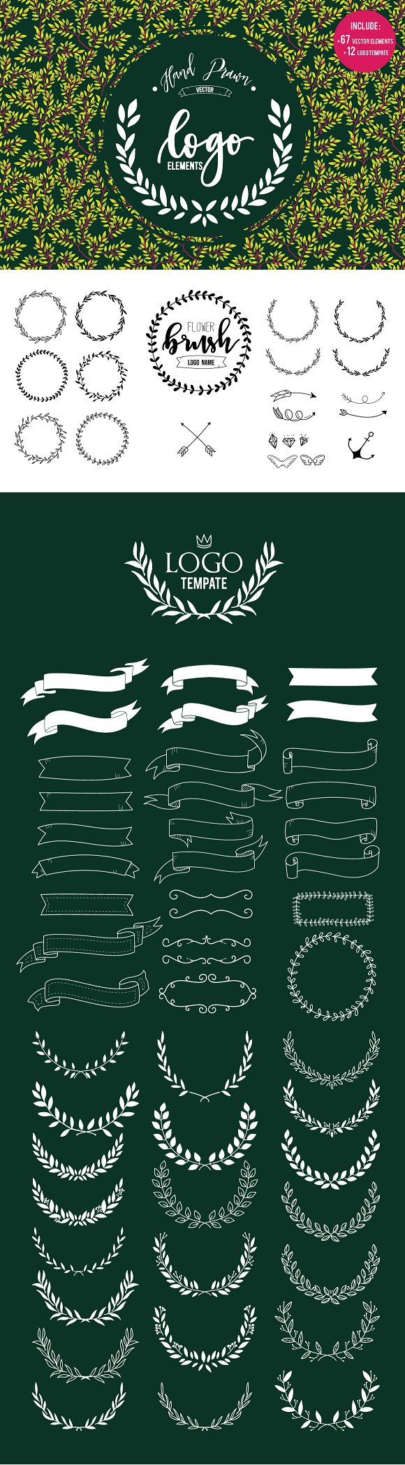 HAND DRAWLogo Design Element Kit  in Illustrations