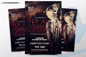 Freak Show Hallooween Flyer Template