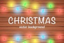 Editable Christmas wooden background