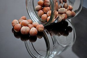 hazelnuts in glass jar