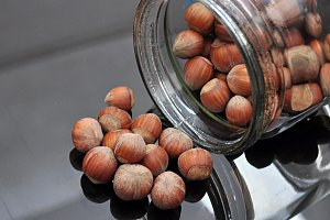 hazelnuts in a glass jar