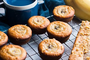 Tea with freshly baked banana muffins