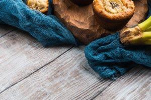 Freshly baked banana muffins