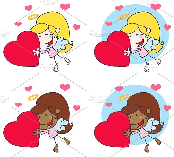Sweet Female Stick Cupid. Collection - Illustrations