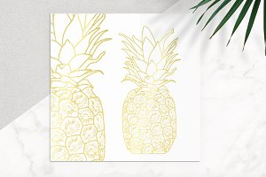 Gold Pineapple Vector Icon
