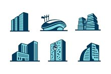 Vector 3d building icons