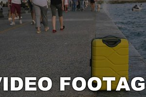 Suitcase on wheels stands on sea