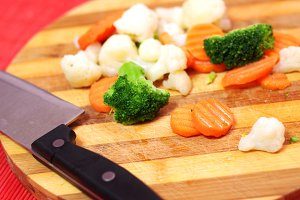 knife and cut fresh vegetables