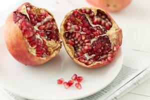 Fresh pomegranates. Portrait
