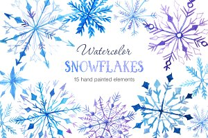 Watercolor Snowflakes Set Vol.2