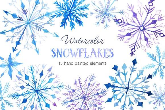 Watercolor Snowflakes Set Vol.2 - Illustrations