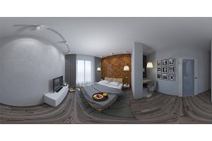 360 seamless panorama of bedroom