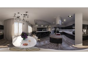 360 seamless panorama of living room