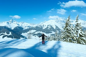 Woman in winter Alps mountain