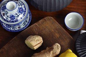 Lemon and ginger tea set close-up