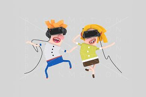 3d illustration. Couple VR.