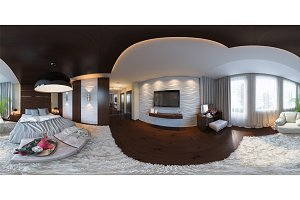 360 seamless panorama of bedroom
