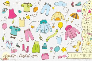 Kids Clothes Clipart Set