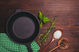 Frying pan and herbs