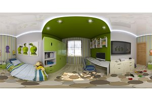 Seamless panorama of children's room
