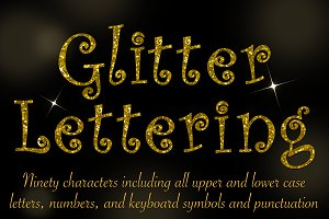 Curly gold glitter lettering