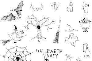 Halloween handdrawn set