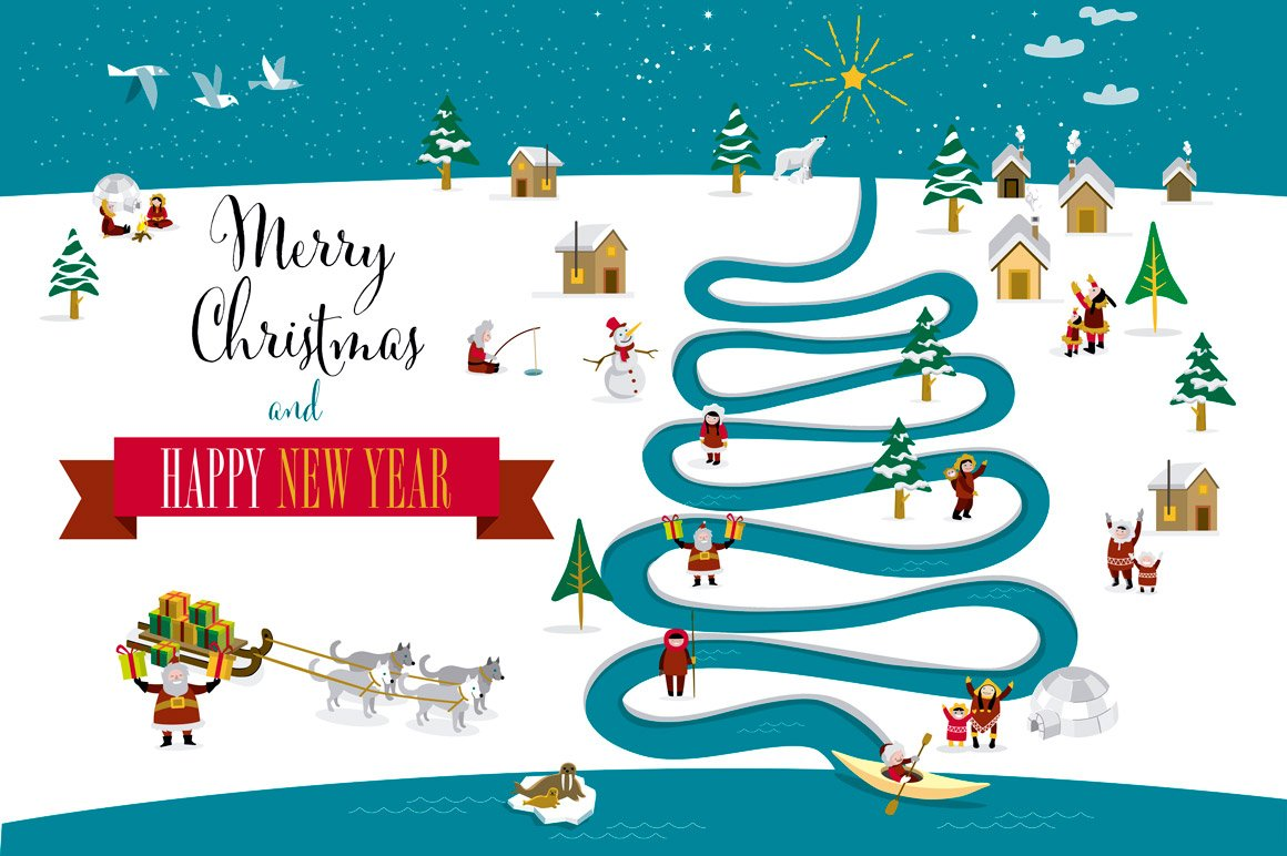 Christmas card river tree english illustrations creative market kristyandbryce Images