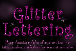 Curly pink glitter lettering
