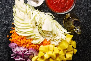 chopped ingredients for soup