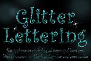 Curly teal glitter lettering