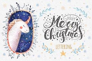 Vector Christmas lettering + bonus