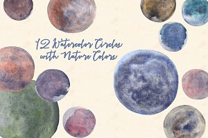 Watercolor Circles with Nature Color