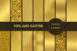 Gold foil and glitter digital paper