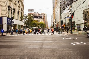 People crossing the street in NY