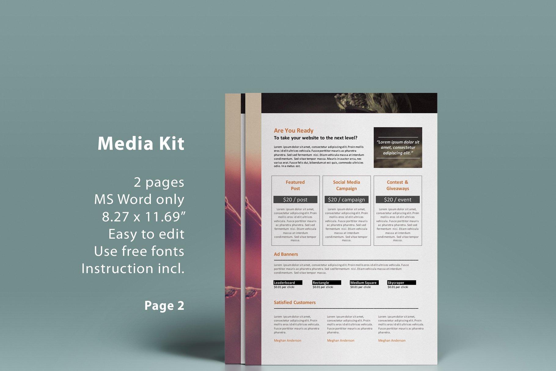 Ms Word Blog Media Kit 2p Presentation Templates Creative