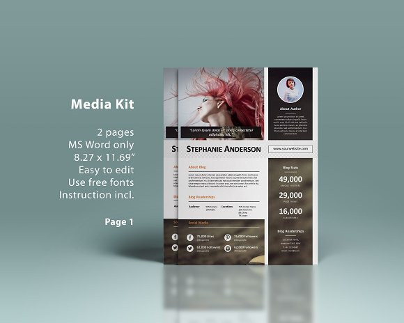ms word media kit 2p presentation templates creative market