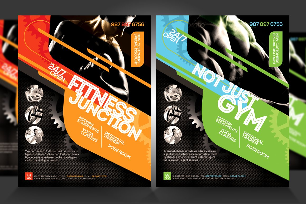 fitness flyer gym flyer v5 flyer templates creative market