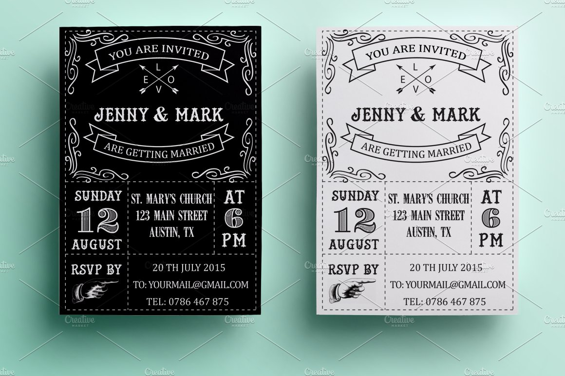 Retro Wedding Invitation ~ Invitation Templates ~ Creative Market