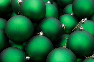 Christmas ornaments on display