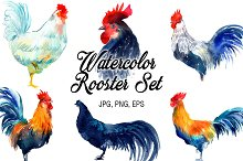 Watercolor Rooster Set