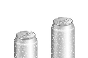 Blank aluminum can with water drops