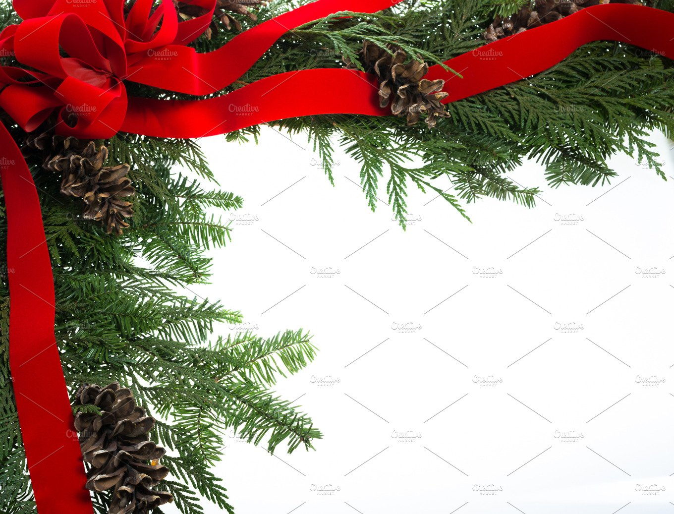 Decorative Border With Red Ribbon Holiday Photos