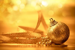 The golden christmas ball