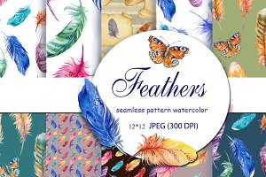 Feathers/watercolor seamless pattern
