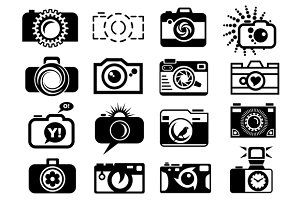 Photo camera set icons